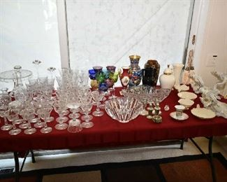 PRETTY TABLE-MARQUIS BY WATERFORD STEMWARE, WATERFORD DECANTER, STEMWARE, ORREFORS BOWL, LENOX, WALL SCONCES, RED WING ART POTTERY, VASES