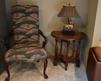 ACCENT CHAIR, DROP LEAF ACCENT TABLE, ELEPHANT LAMP
