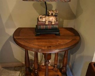 DROP LEAF ACCENT TABLE, ELEPHANT LAMP