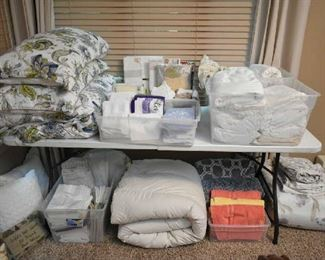 LINENS- COMFORTER SETS, SHEETS(FULL & KING), PILLOWCASES, TOWELS, PLACEMATS, TABLECLOTHS