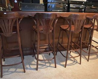 4 WOOD BAR STOOLS
