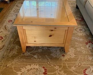 Farmhouse pine coffee table with custom glass protective top (removable)