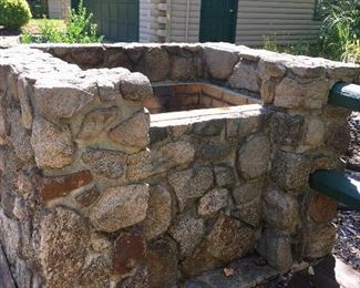 Stone fire pit grill