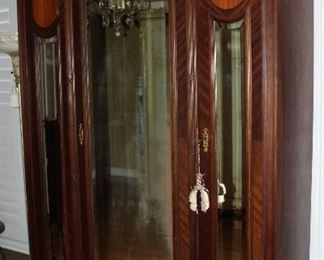 "Antique Victorian Era 3-Shelf Linen Press/Armoire with 3 Bevel Mirror Doors.  (84""H x 53""W x 17""D)"