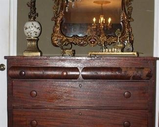 Antique American Empire Mahogany Chest.  Also shown is Bronze Gilt Ornate Mirror and a Cherub Table Lamp