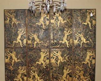 "Antique French 4 Panel Gold Gilt Cherubs Embossed on Black Leather C.1840-1900 (each panel measures 21""W x 6'9""H)"