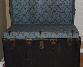 "Open View: Antique Large Black Steamer Trunk with Brass fitting and complete interior   (36""W x 20""H x  21""D)"