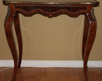 "French Ladies' Writing Desk with Ormolu Brass Mounts and Center Drawer. (32""W x 31.75""H x 19""D)"
