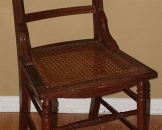 Antique early 20th Century Walnut Hand Cane Bottom Side Chair