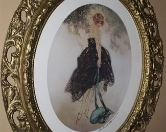 "Antique Gold Gilt Oval Framed Louis Icart ""Le Bonnet Blue"" Print (22.5""W x 26""H)"