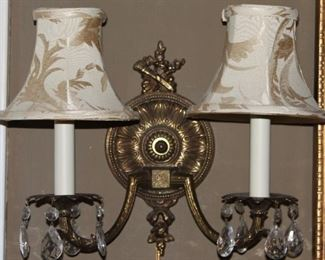 Pair Vintage Solid Brass 2-Arm Wall Lamps with Crystal Prisms (1 of 2 Shown)