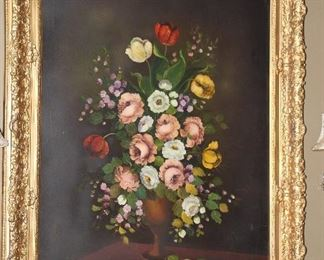"Original Oil on Canvas Signed by Artist.   Antique Gold Gilt Frame (overall 37.5"" x 47.5"")"
