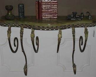 "Solid Brass and Marble Wall-mounted Console Table (39"" W x 11""D)"