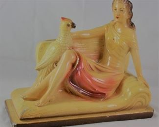 "Vintage Signed Chalk-Ware Figurine: Lady on Sofa with Parrot (10""W x 8.5""H x 4""D)"