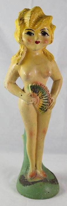 "Vintage Carnival Chalkware Burlesque Lady with Fan (16""H)"
