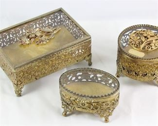 Hollywood Regency Mid Century Gold Plated Vanity Boxes