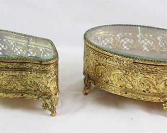 Stylebuilt Hollywood Regency Mid Century Gold Plated Vanity Boxes