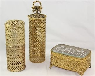 Hollywood Regency Mid Century Gold Plated Filigree Hairspray Can Covers/Caddy and a Bevel Glass Top Vanity Box