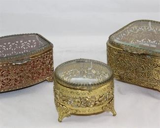Hollywood Regency Mid Century Gold Plated Filigree Bevel Glass Lidded Vanity Boxes
