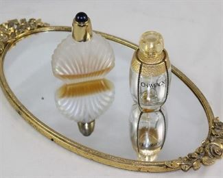 "Matson Hollywood Regency Mid Century Gold Plated Mirror Vanity Tray and Elizabeth Taylor Passion Perfume Bottle and Eve St Lauren ""Champagne"" Perfume Bottle"