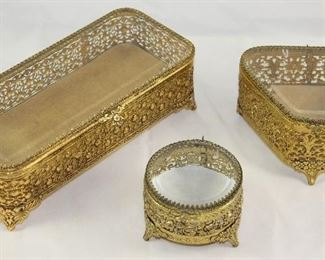 Matson Hollywood Regency Mid Century Gold Plated Comb/Brush and Bevel Glass Lid Vanity Boxes.