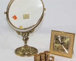 Stylebuilt Hollywood Regency Mid Century Gold Plated Vanity Mirror, Lipstick Holder and Bulovar Clock