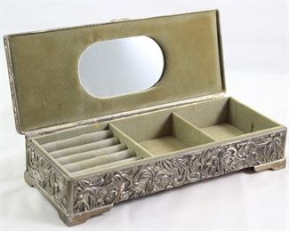 Open View Antique Reposse Silver Comb Box