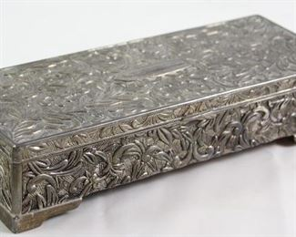 Antique Reposse Silver Comb Box