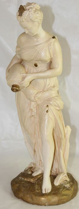 "Vintage Woman with Water Jug Signed Statuary (17""H)"