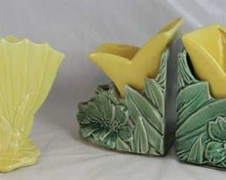 McCoy Yellow Fan Vase and Lily Bookend Planters