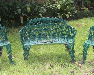 Ornate Cast Iron Green Garden Bench with 2 matching Chairs