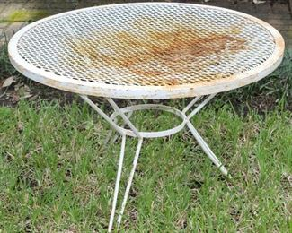 Vintage Mid Century Wrought Iron Mesh Garden Table