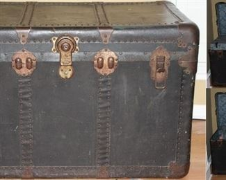 "Antique Large Black Steamer Trunk with Brass fitting and complete interior   (36""W x 20""H x  21""D).  Pictures showing open view."