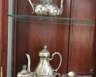 Handerbeit Sterling Silver coffee & tea set , other sterling pieces and lot's of plate