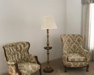 Pair of accent chairs will divide, brass floor lamp