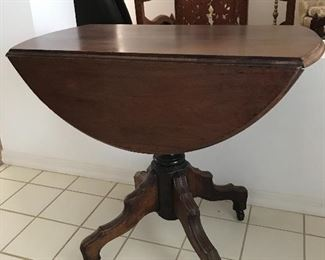 "Drop leaf table 28.75 x 33.5 drops 10"" each - 17"" when dropped"