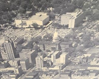 1950's  LARGE PHOTO OF DOWNTOWN LANSING