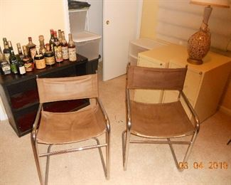 2 Brown Canvas and Chrome Side Chairs
