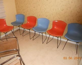 6 Knoll MCM Fiber Dining Chairs in Blue and Orange