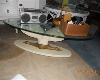 Glass Top Coffee Table with Swan Base