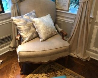 PAIR OF LINEN ARM CHAIRS