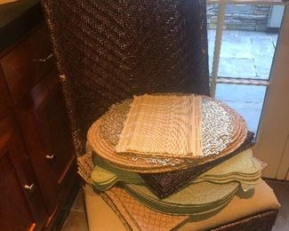 RATTAN DINING CHAIRS & LINENS