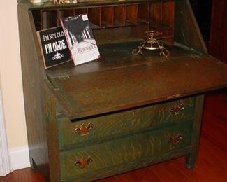 desk with front shelf open