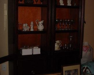2 door, China cabinet, lighted glass shelves