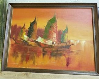 "Artist Signed Oil on Board "" Robert '"