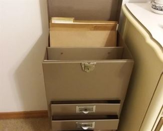 One piece file cabinet, drawers and locking case