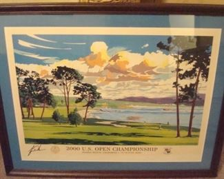 2000 U. S. Open print signed by Tiger Woods.