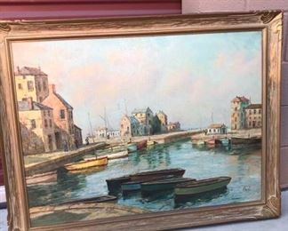 H Hanley at the Dock H315 Painting on Canvas