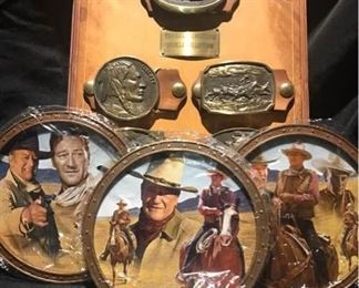 John Wayne Collector Plates and Belt Buckle Collection
