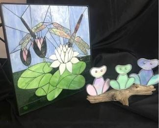 Stained Glass Table and Frogs in Wood